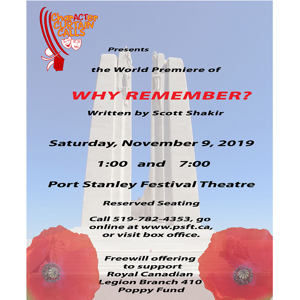 CharACTer Curtain Calls presents the World Premiere of WHY REMEMBER?